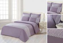 Комплект постельного белья  Сатин  с цветным кружевом  евро  Арт.SZV-010-3