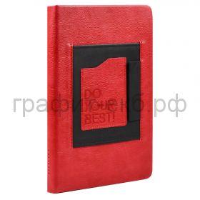 Ежедневник А5 недат.Феникс+ ШЕВРЕТ карман/перля для ручки красный 160л. 52873