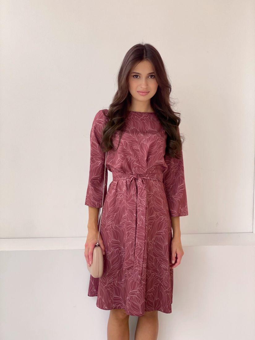 2758 Платье с бордовым принтом