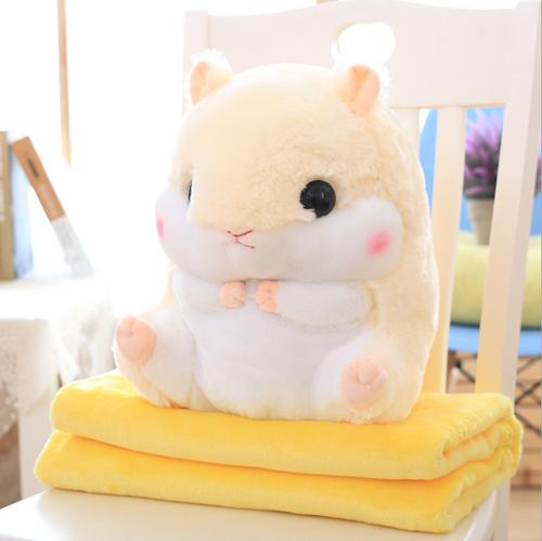 Подушка-игрушка с пледом Хомяк 3 в 1, цвет – жёлтый.