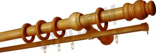 Карниз Уют 26.D20 деревянный, двухрядный, Дуб