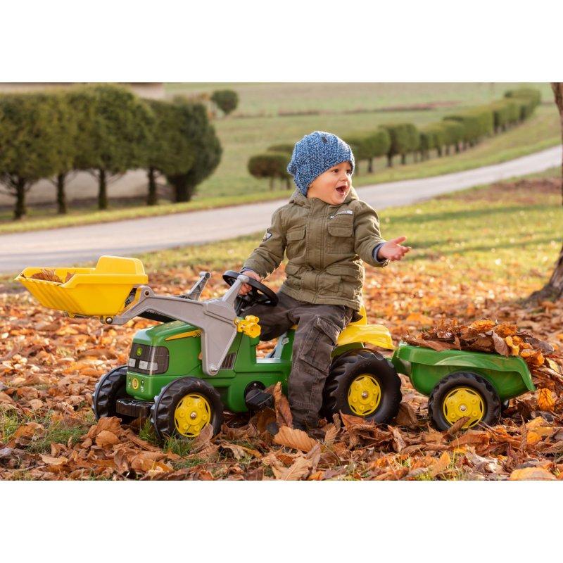 Педальный трактор с ковшом и прицепом Rolly Toys John Deere 023110
