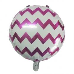 Зигзаг фуксия круглый фольгированный шар с гелием