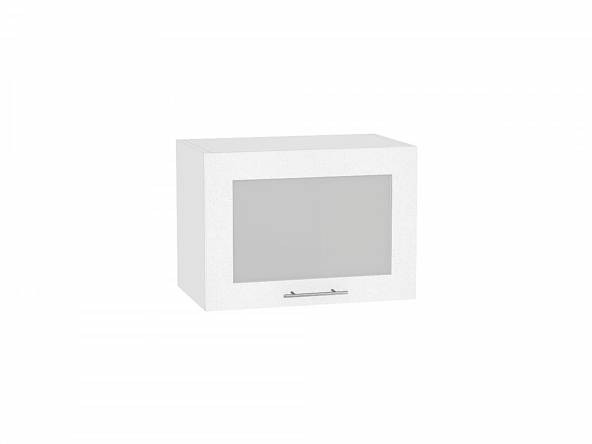 Шкаф верхний Валерия ВГ510 со стеклом (белый металлик)