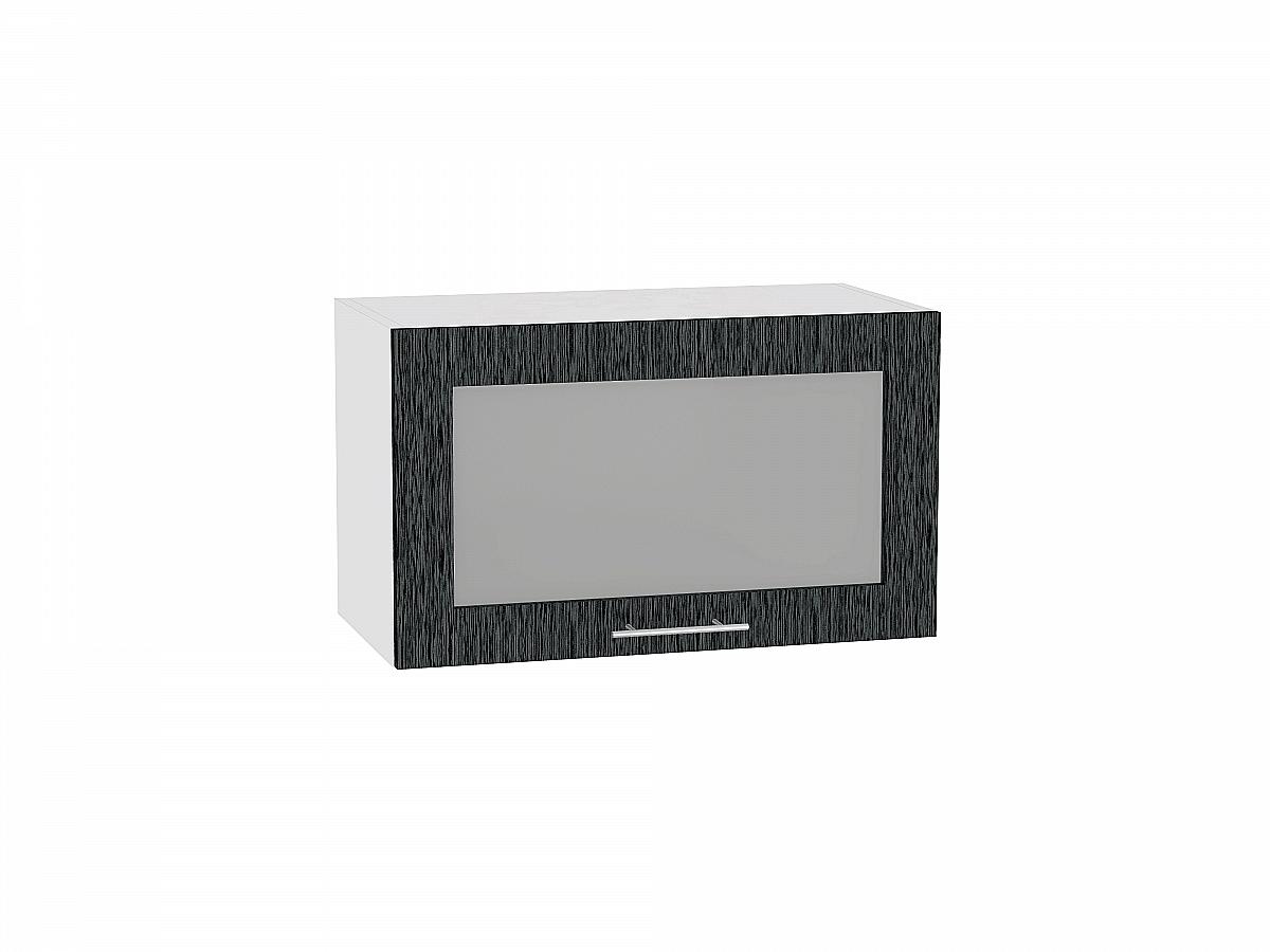 Шкаф верхний Валерия ВГ610 со стеклом (чёрный металлик дождь)