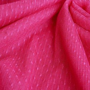 Мягкий фатин - Горошек мелкий ярко-розовый 150*25 см.