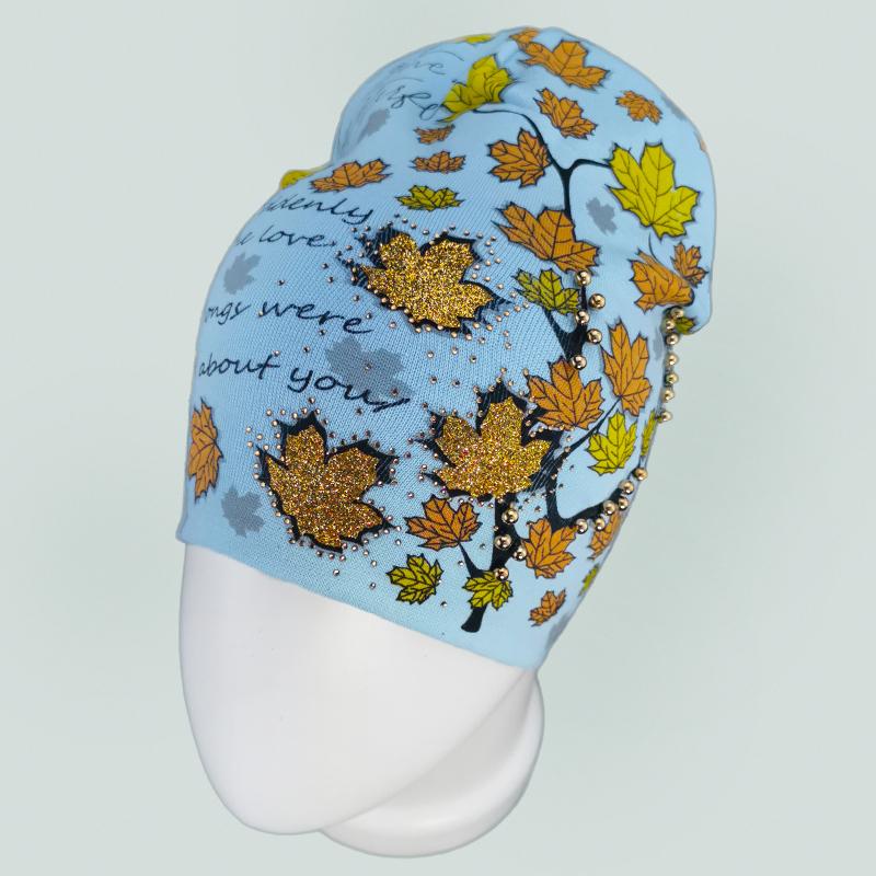 вд1636-10 Шапка трикотажная двойная удлиненка Осень голубая
