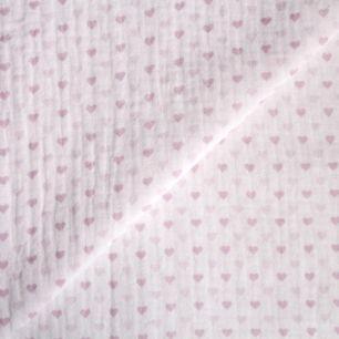 Муслин двухслойный Сердечки на белом 50х45