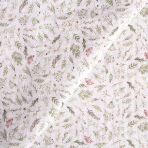 Муслин двухслойный - Акварельные травы на белом 50х45