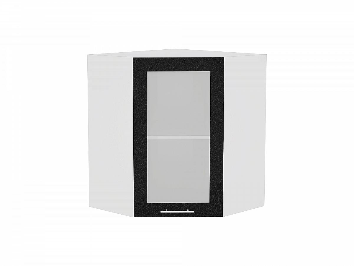 Шкаф верхний угловой Валерия ВУ599 со стеклом (чёрный металлик)