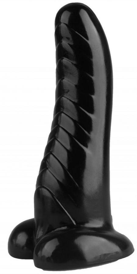 Черная изогнутая рельефная анальная втулка - 23,5 см.