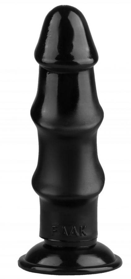 Черный реалистичный рельефный фаллоимитатор - 21,5 см.