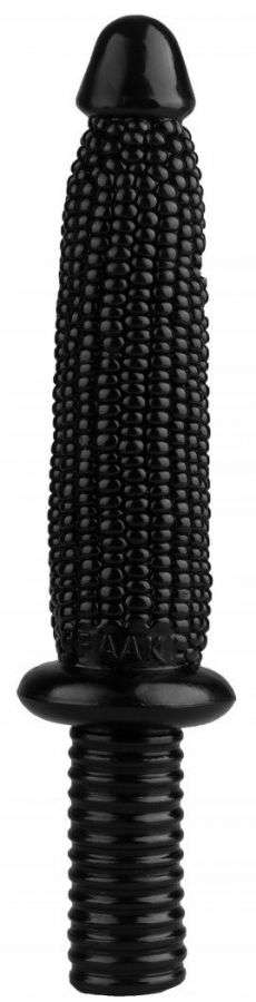 Черный анальный реалистичный стимулятор  Кукуруза  - 33,5 см.