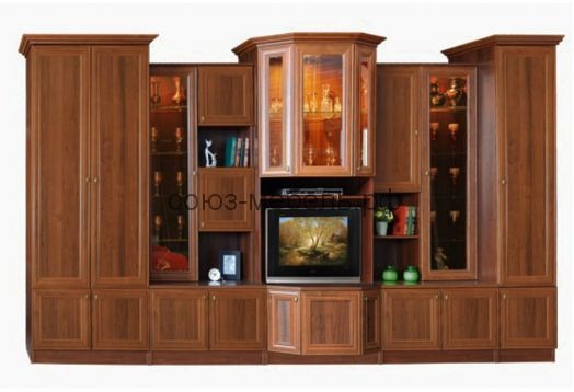 Гостиная Диана Люкс (шкаф платяной №13+шкаф комби №7 (550)+витрина №4А+шкаф комби №6 (550)+пенал бельевой №15* (540))
