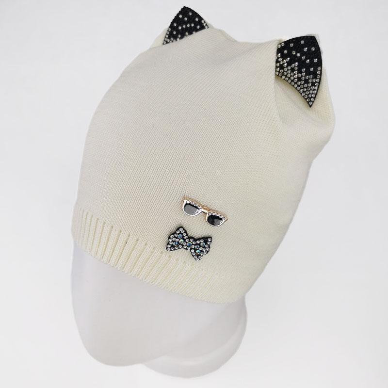 зд1231-32 Шапка вязаная одинарка кошечка Очки молочная