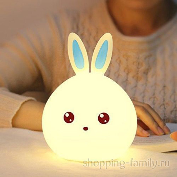 Силиконовый ночник Colorful Silicone Lamp, голубой зайчик