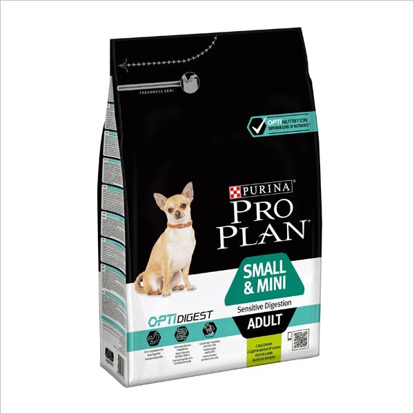 Корм  Pro Plan Small & Mini Adult Sensitive Digestion для взрослых собак малых пород с чувствительным пищеварением, ягненок 3 кг