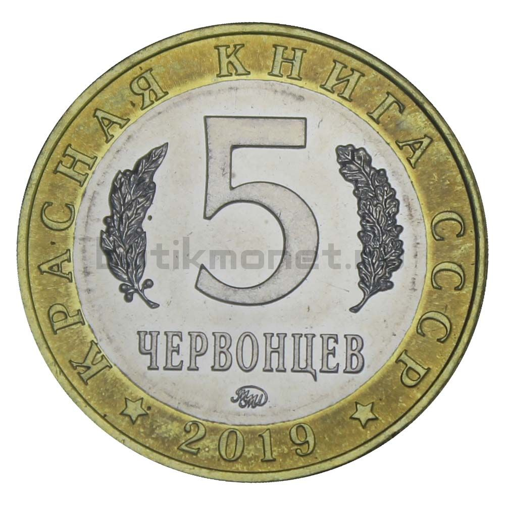 Россия Монетовидный жетон 5 червонцев 2019 ММД Сахалинская Кабарга (Красная Книга)