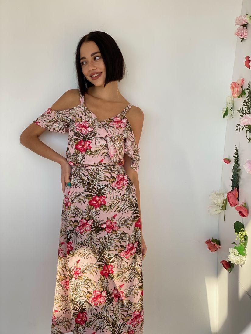 4551 Сарафан розовый с пальмами