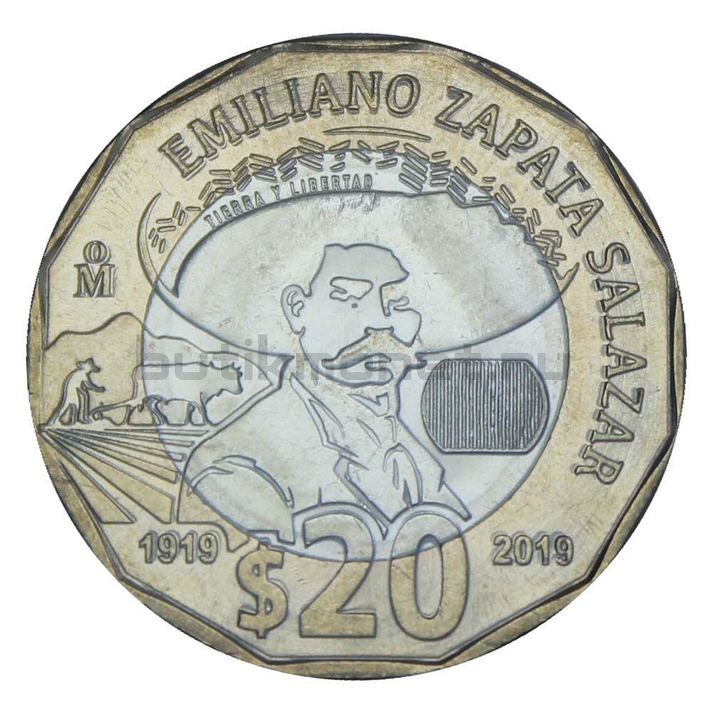 20 песо 2019 Мексика 100 лет со дня смерти Эмилиано Сапаты Саласара