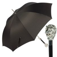 Зонт-трость Pasotti Leone Silver Rombes Black