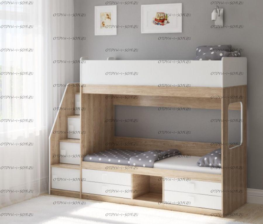 Кровать двухъярусная Легенда D606.3, два варианта цветов