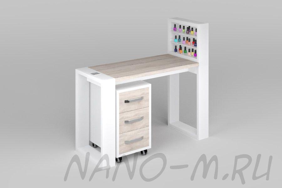Маникюрный стол Matrix с подставкой для лаков и тумбой