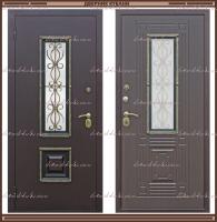 Входная дверь Венеция ковка РДК Антик медь / Венге графит 960 х 2200 со стеклопакетом Россия