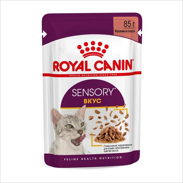 Влажный корм для взрослых кошек Royal Canin SENSORY TASTE стимуляция вкусовых рецепторов кусочки в соусе