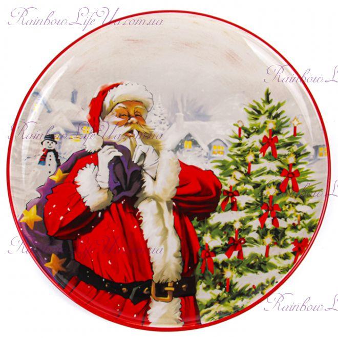 """Блюдо новогоднее 30 см """"Санта с мешком"""""""
