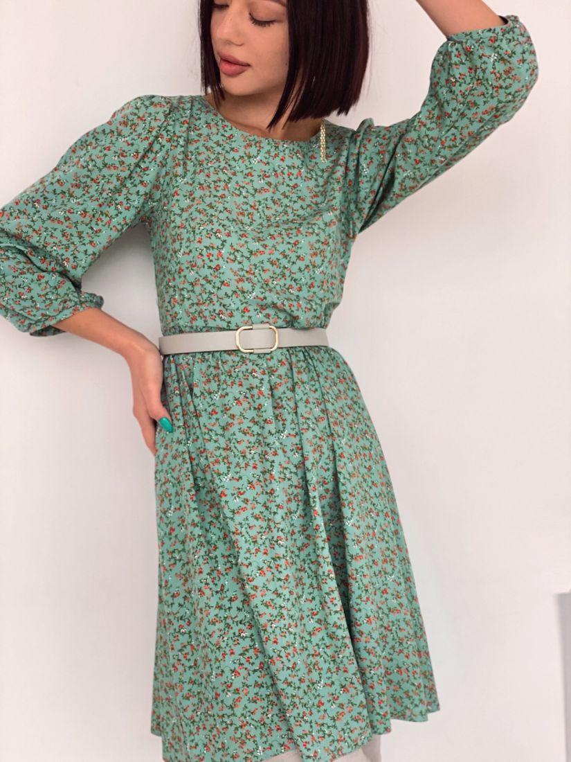 4582 Платье с рукавами-буфами фисташковое