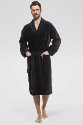 Мужской махровый халат Optimum черный