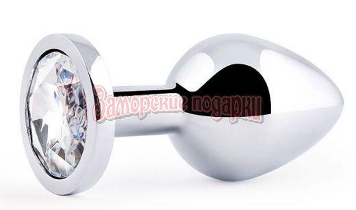 Анальная пробка SILVER PLUG MEDIUM с прозрачным кристаллом - 8,2 см.