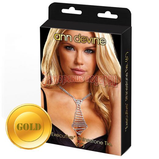 Галстук из золотистых кристаллов EXECUTIVE Rhinestone Tie