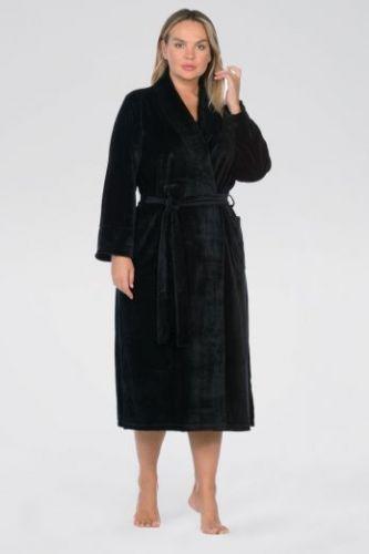 Женский велюровый халат Curves черный