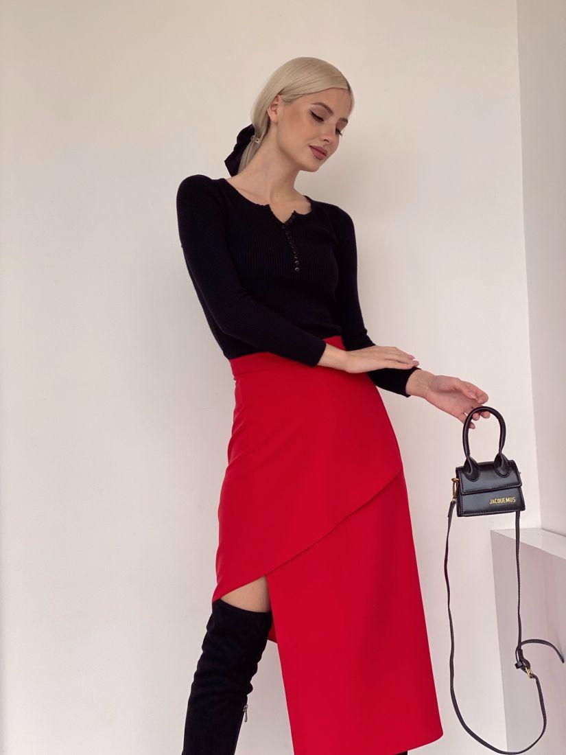 171 Асимметричная юбка красная