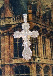 Крупный позолоченный крест с имитацией алмазной гравировки (арт. 250341)