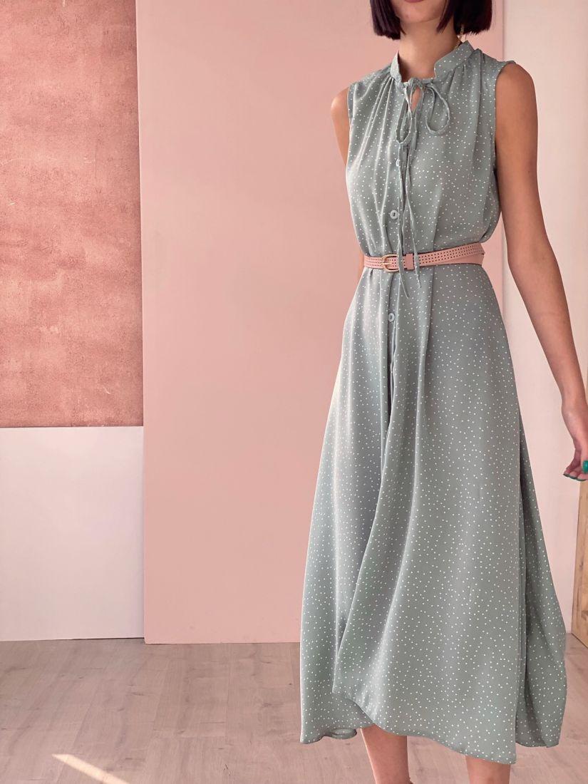 4704 Платье на пуговичках фисташковое в горошек