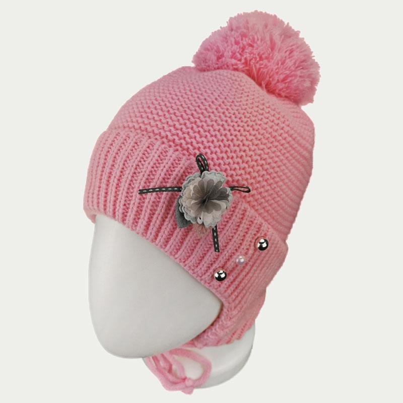 зд1249-47 Шапка платочной вязки с отворотом на завязках Flower розовая