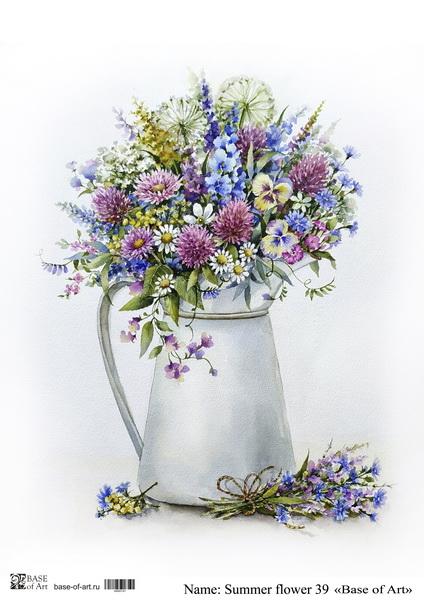 Декупажная карта Base of art, 20*30 см, Summer flower 39