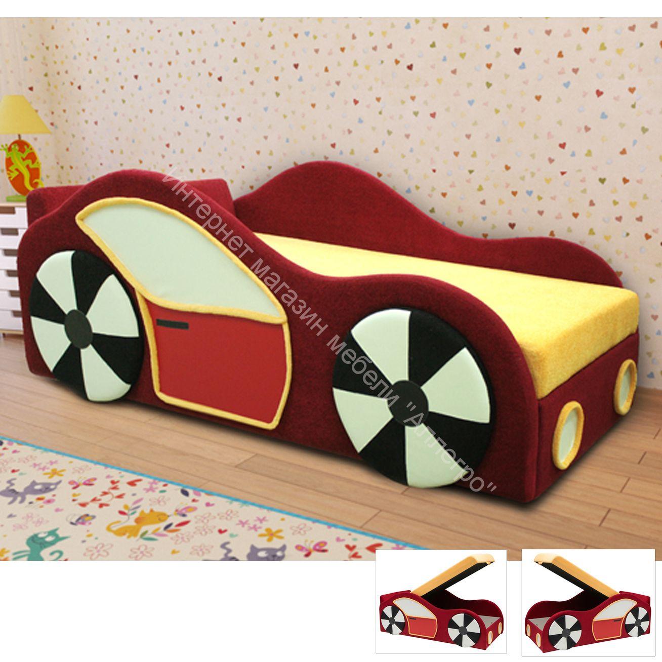 Диван детский Машинка (апплик. с 2 сторон)