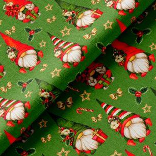Хлопок рождественские гномы на зеленом 50х37 см.