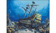 """Холст с красками """"Затонувший корабль"""" 40х50 см по номерам (арт. PP049)"""