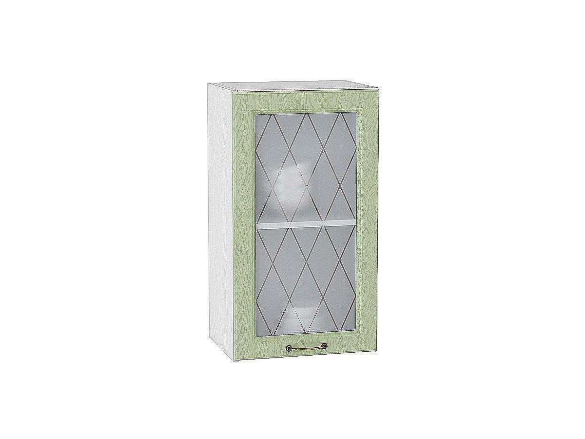 Шкаф верхний Ницца В400 со стеклом (дуб оливковый)