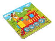 """Пазл-рамка деревянная для малышей """"Паровозик"""" 9 эл. (15х15 см) (арт. ИД-9964)"""