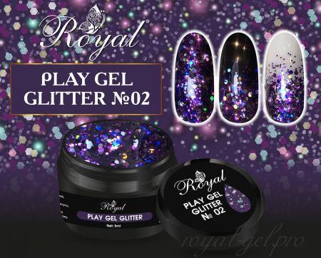 02 Gel PLAY GLITTER  Royal 5мл.