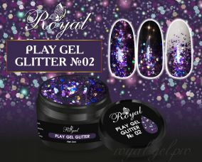 02 Gel PLAY GLITTER  Royal 5мл.