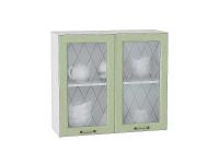 Шкаф верхний Ницца В800 со стеклом (дуб оливковый)