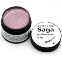 База для гель-лака камуфлирующая с шиммером Saga Professional Cover Base Shimmer №02, 15мл