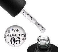 Топ для гель-лака без липкого слоя Saga Professional Top Geometry 03 с черными и белыми фигурами, 8 мл